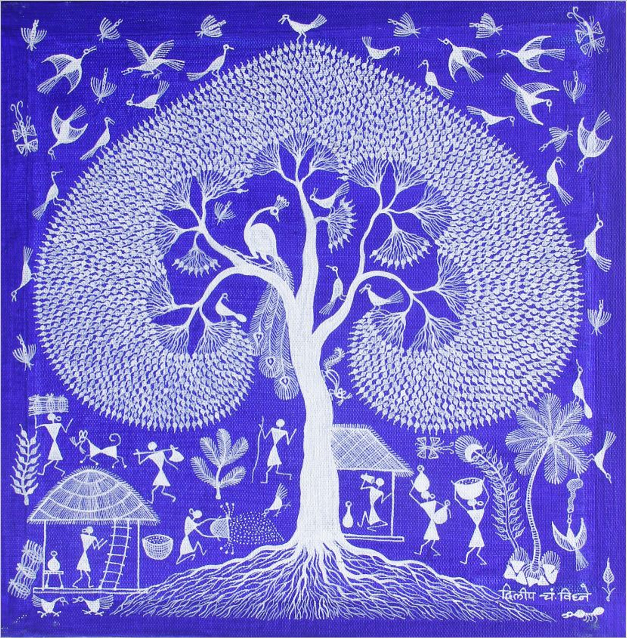 Buy Tribal Warli Painting Indian Traditional Painting Tribal Lifestyle Handmade Painting By Anavita Artistry Studios Private Limited Code Art 7213 45170 Paintings For Sale Online In India
