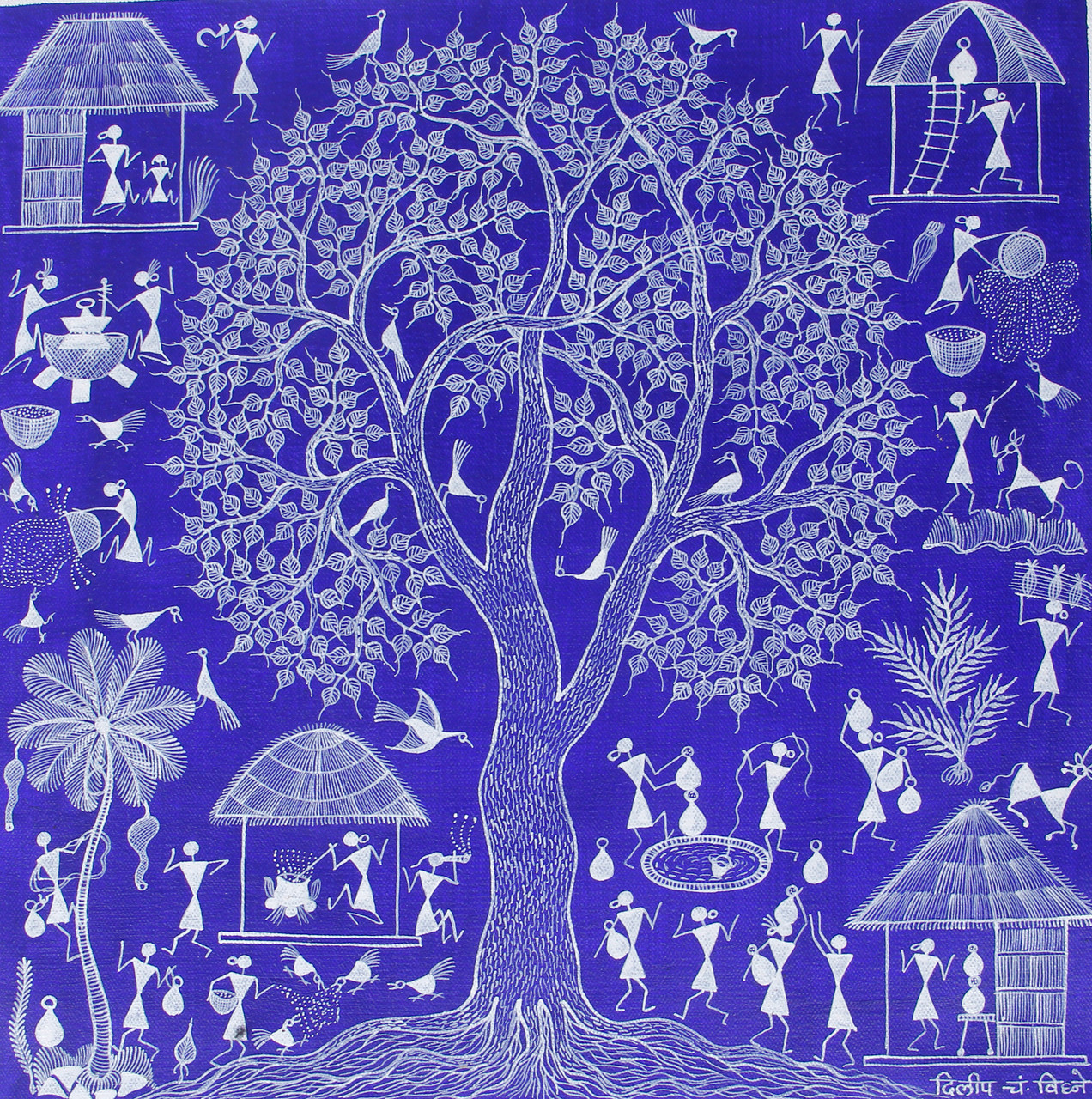 Buy Tribal Warli Painting Indian Traditional Painting Tribal Lifestyle Handmade Painting By Anavita Artistry Studios Private Limited Code Art 7213 45169 Paintings For Sale Online In India
