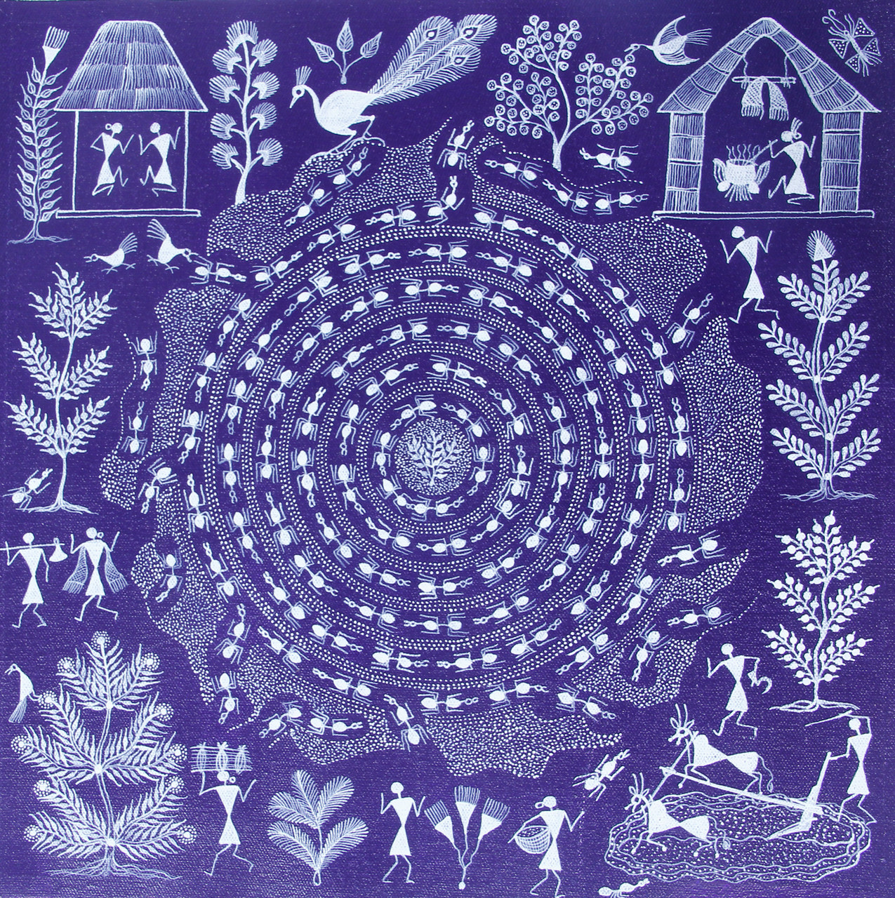 Buy Tribal Warli Painting Indian Traditional Painting On Canvas Tribal Anthill Handmade Painting By Anavita Artistry Studios Private Limited Code Art 7213 45168 Paintings For Sale Online In India