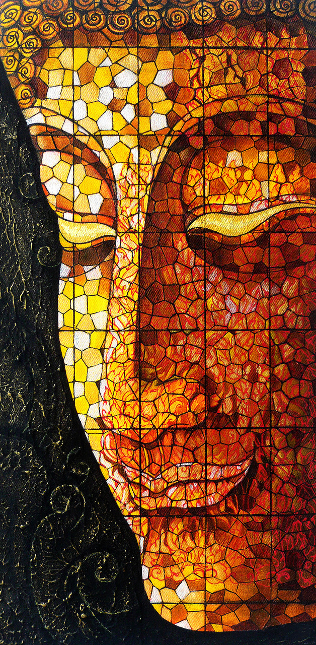 Buy Religious Buddha Face On Stained Glass Canvas Print Canvas Art Print By Mera Wala Print Code Prt 7026 45246 Prints For Sale Online In India