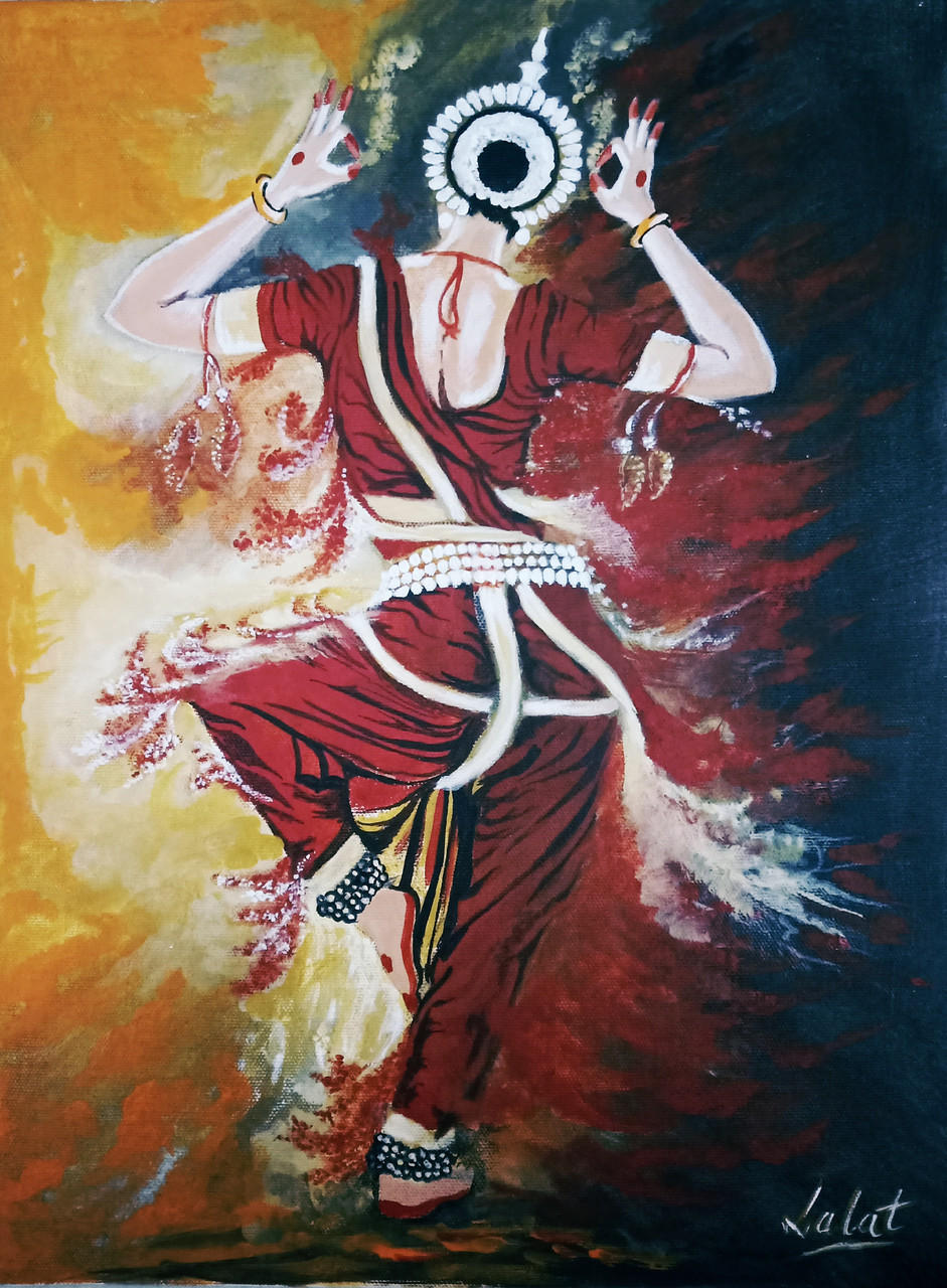 Buy Indian Classical Dance Odissi Handmade Painting By Lalat Keshari Routray Code Art 7272 45733 Paintings For Sale Online In India