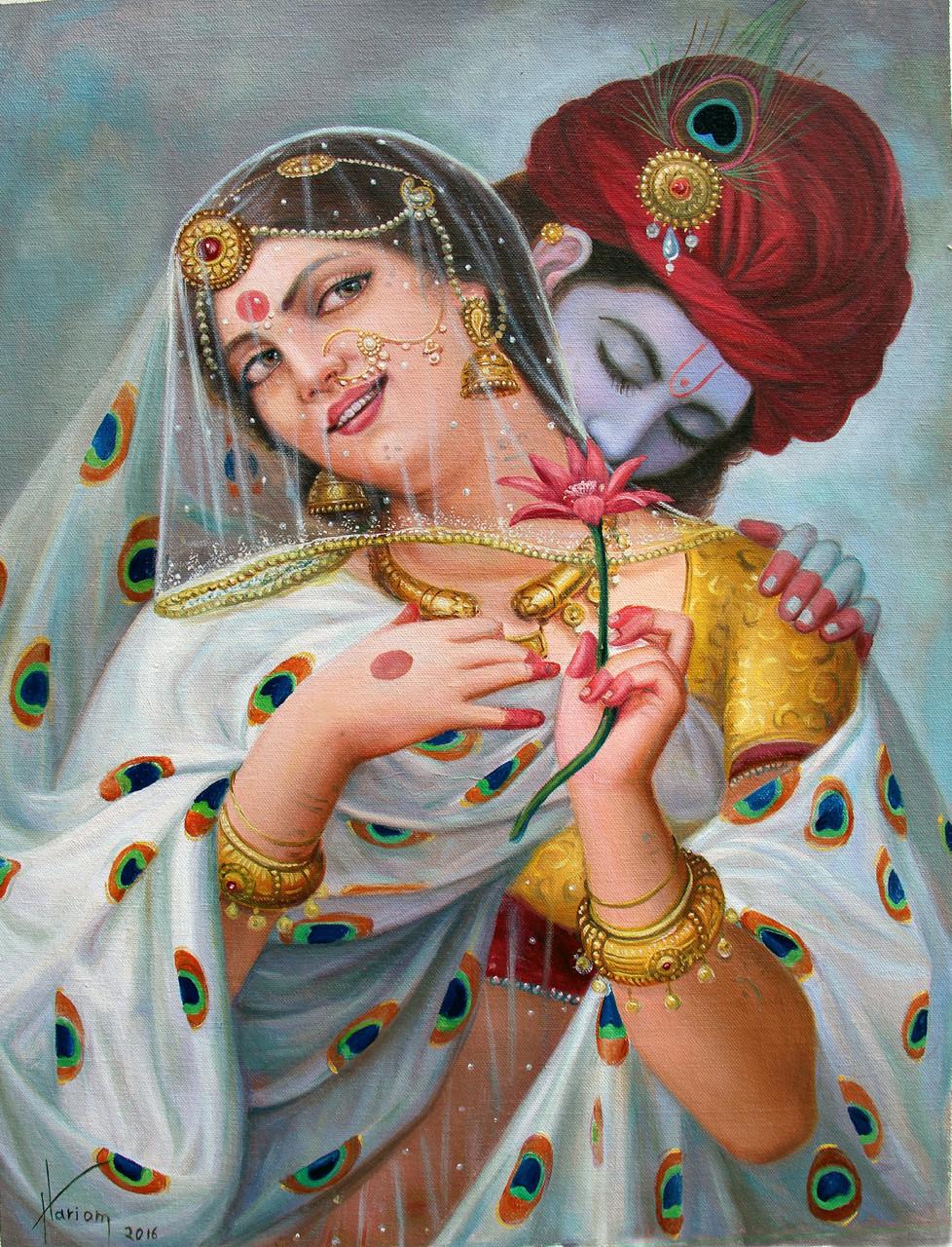 Buy Enchanting Love Radha Krishna Handmade Painting By Hariom Singh Code Art 1246 27541 Paintings For Sale Online In India
