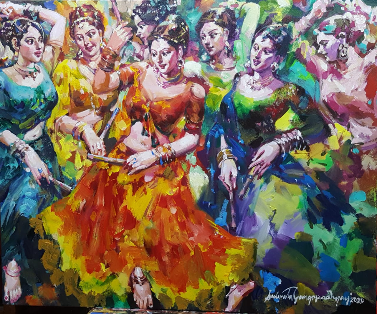 Buy Dandia Raas Acrylic On Canvas By Contemporary Artist Handmade Painting By Online Art Gallery Code Art 7308 46351 Paintings For Sale Online In India