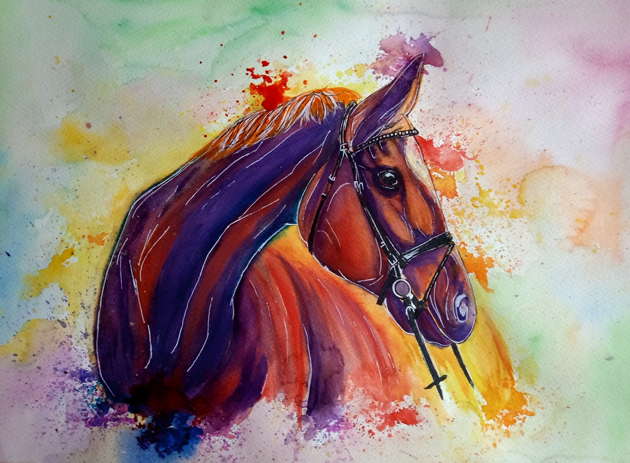 Buy A Splash Of Horse Canvas Art Print By Sri Lakshmi Code Prt 7337 47551 Prints For Sale Online In India