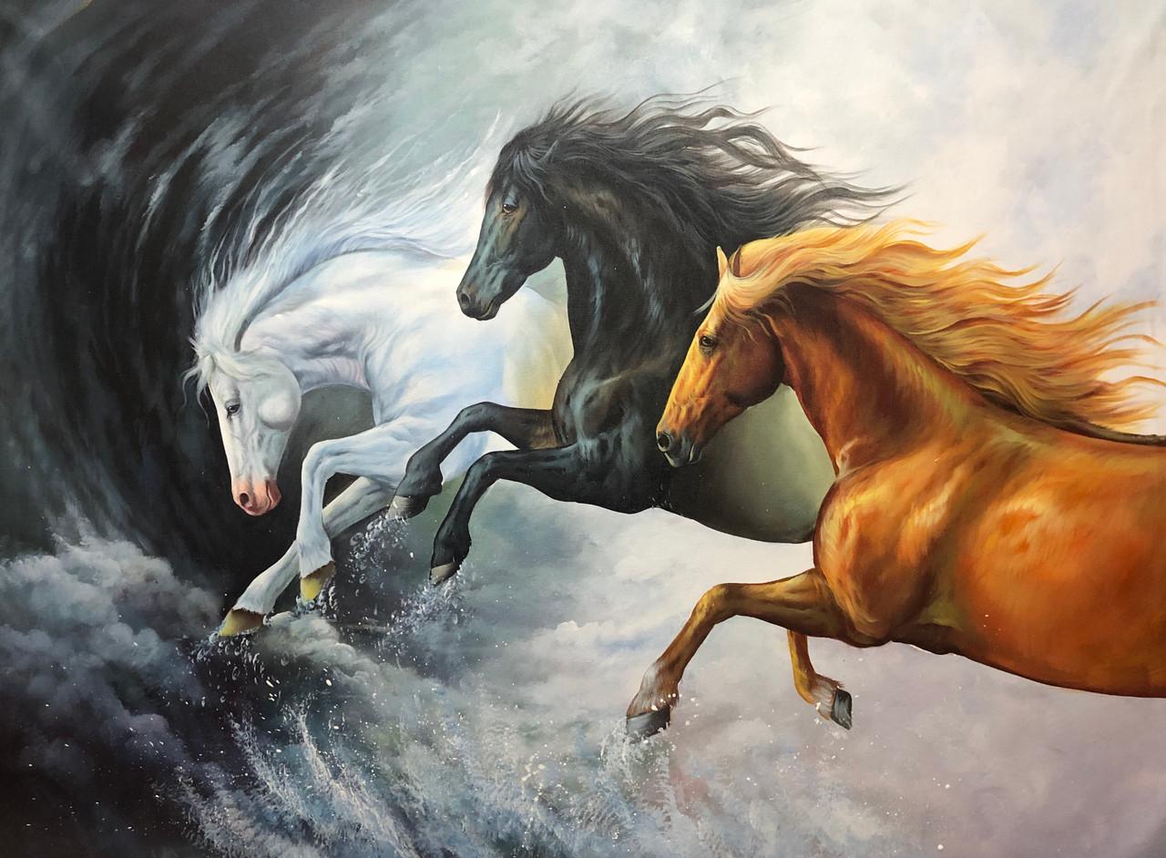 Buy Running Horses Painting Handmade Painting By Kuldeep Singh Code Art 6706 48434 Paintings For Sale Online In India