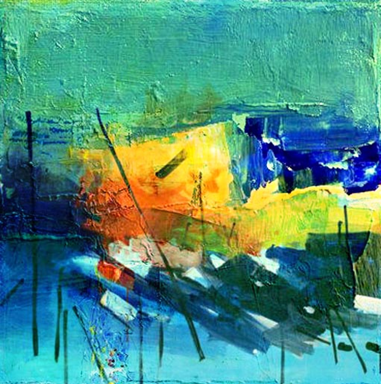 Internal Vibration Handpainted Art Painting 32in X 32in