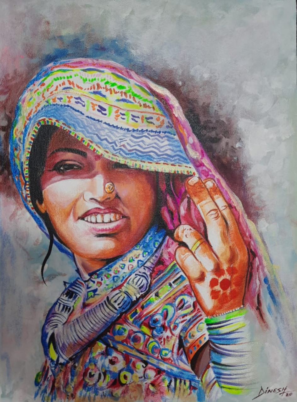 Handmade painting on canvas/ hand painting rajasthani village woman  ART 10 10   Handpainted Art Painting   10in X 10in