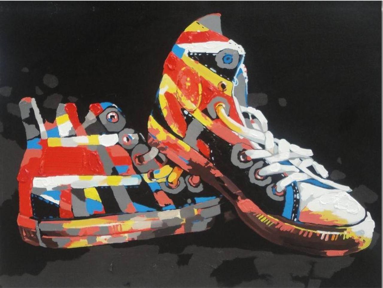 af38c69385470 My Shoe Pair - Handpainted Art Painting - 36in X 24in