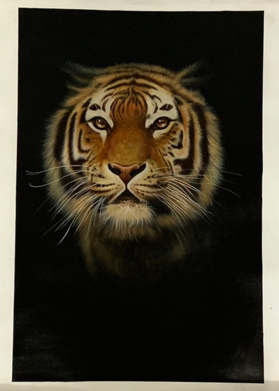 Indian tiger face handmade painting with canvas ART 10 10    Handpainted Art Painting   10in X 10in