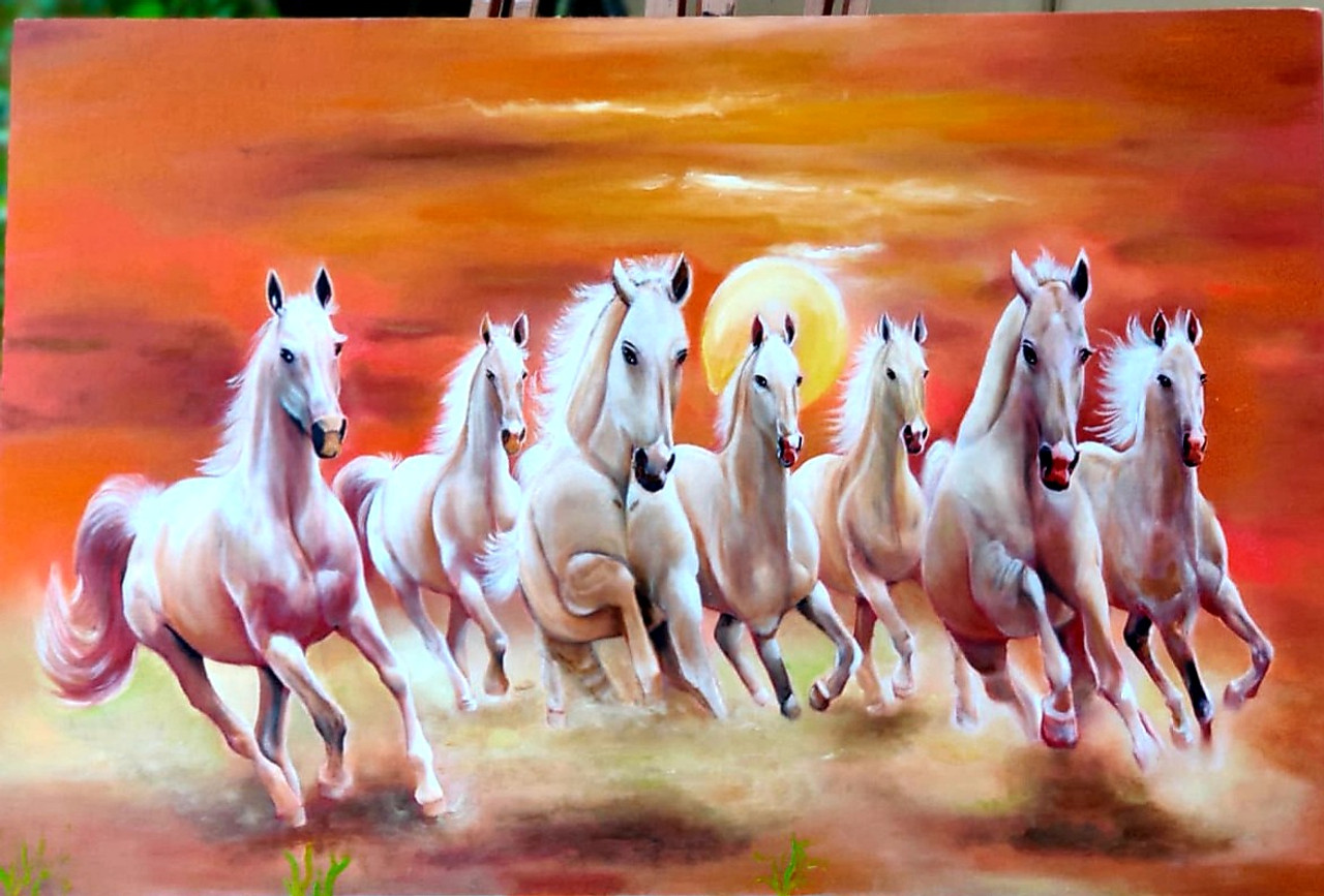 Buy 7 Running White Horses Handmade Painting By Sanjana Sharma Code Art 7613 50033 Paintings For Sale Online In India