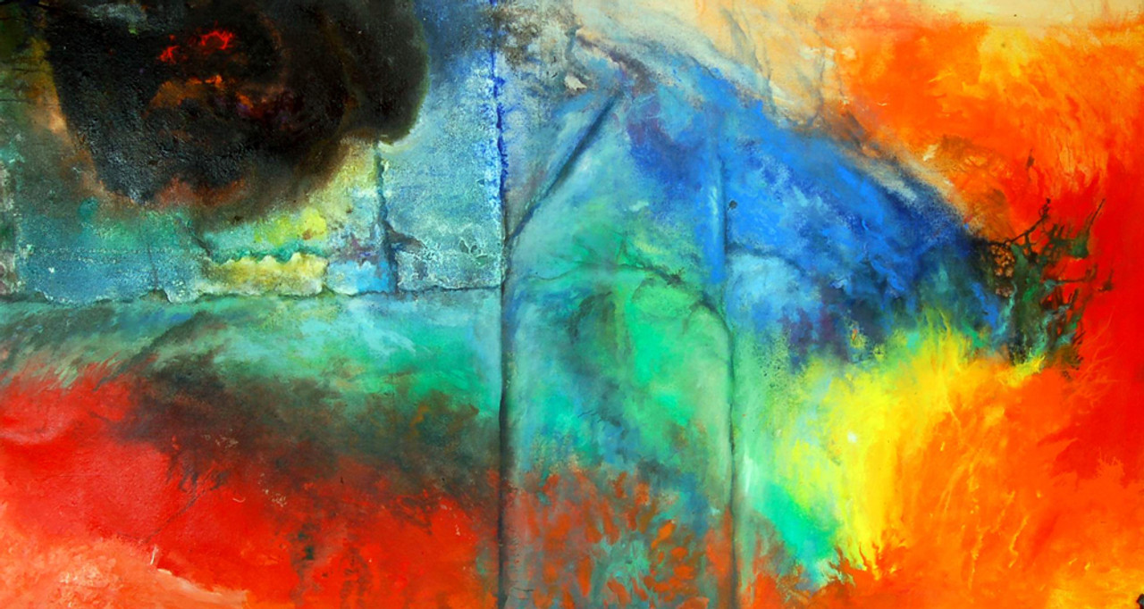 Color Blend Handpainted Art Painting 40in X 20in