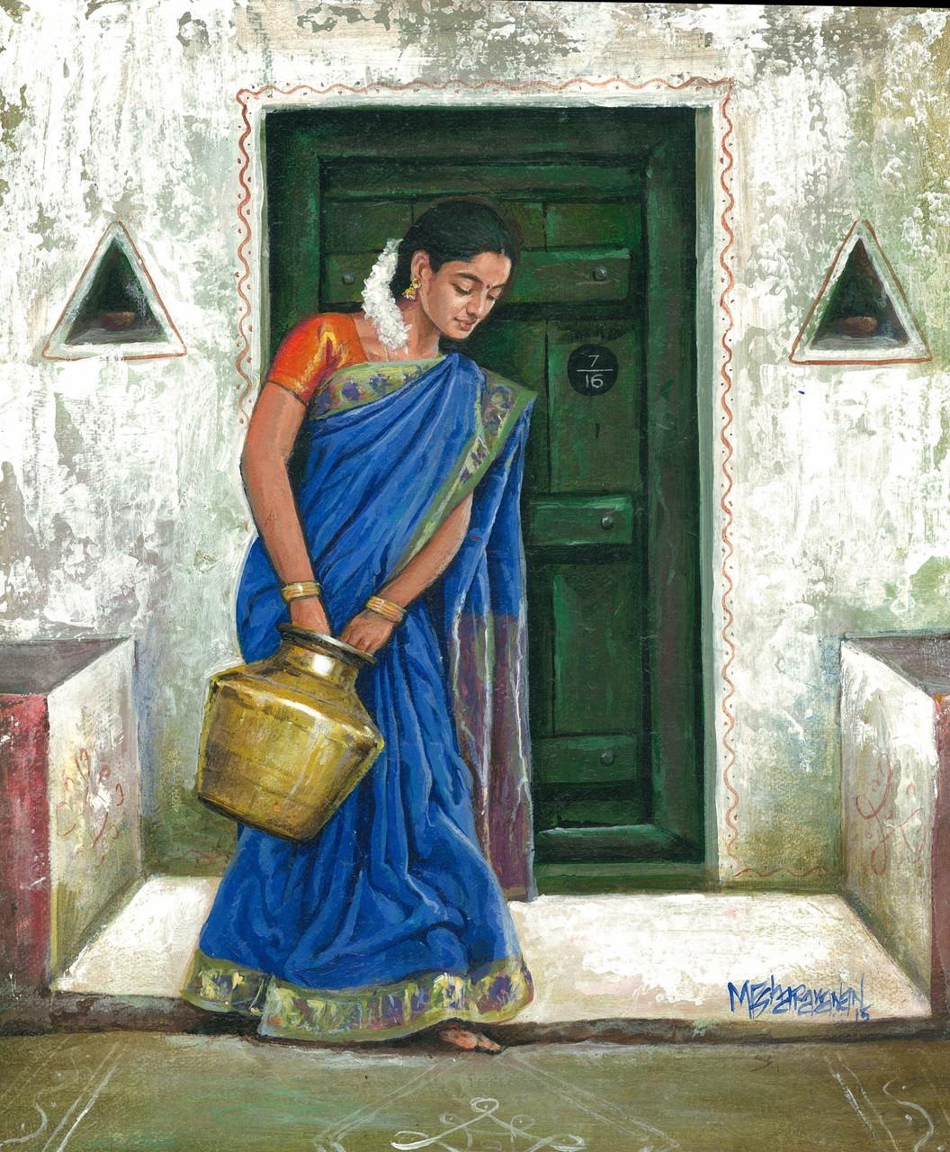 Buy Indian Village Girl by Sharavanan Perumal@ Rs. 7790 ...Beautiful Indian Village Paintings