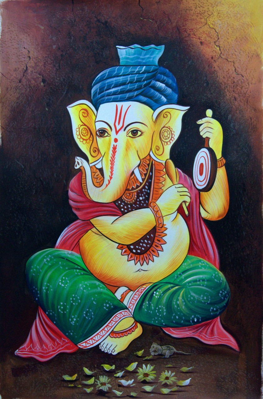 Lord Ganapati01 Handpainted Art Painting 24in X 36in