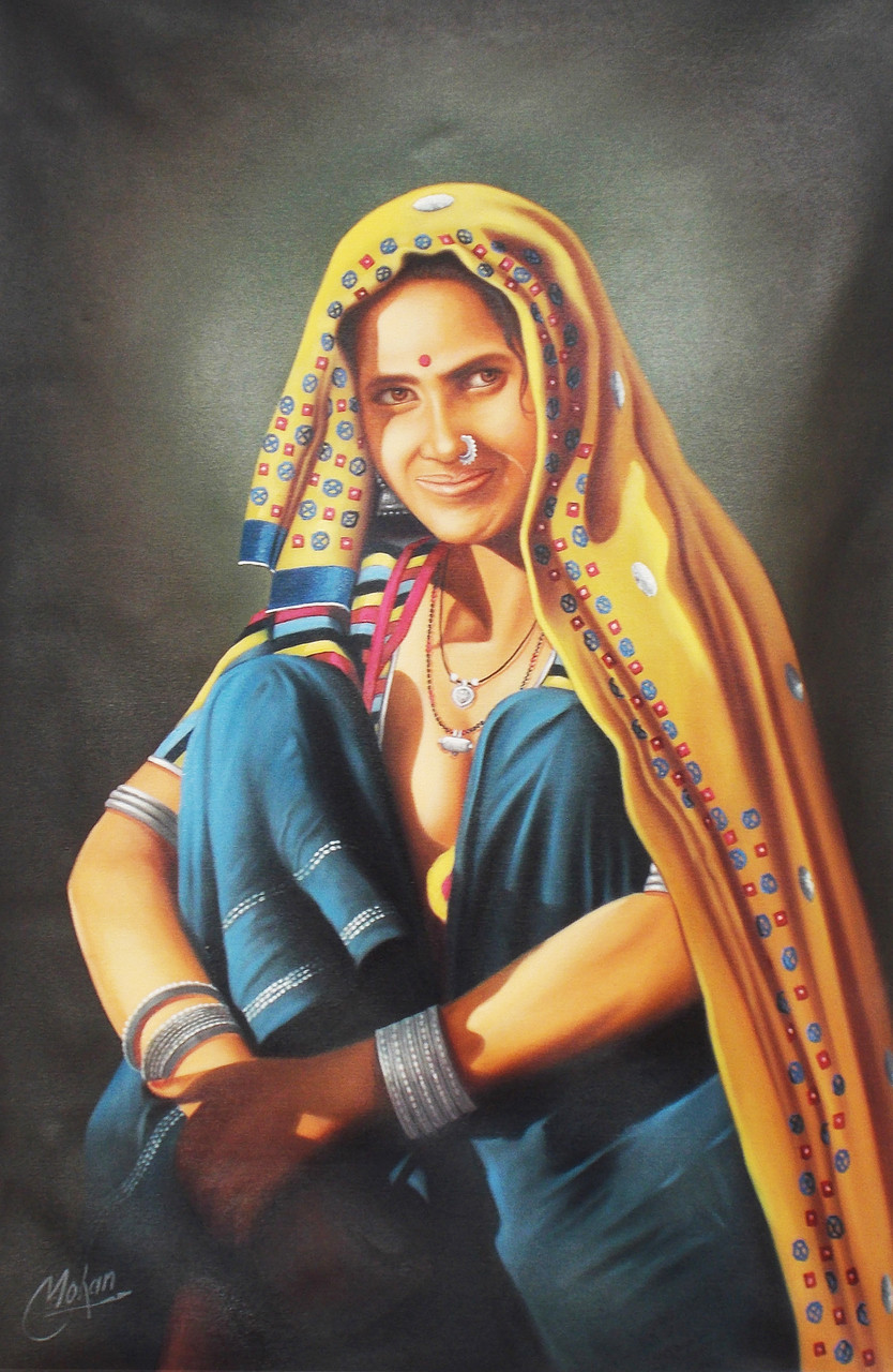 Buy Rajasthani Lady By Mohan Verma Rs 23390 Codeart -3815