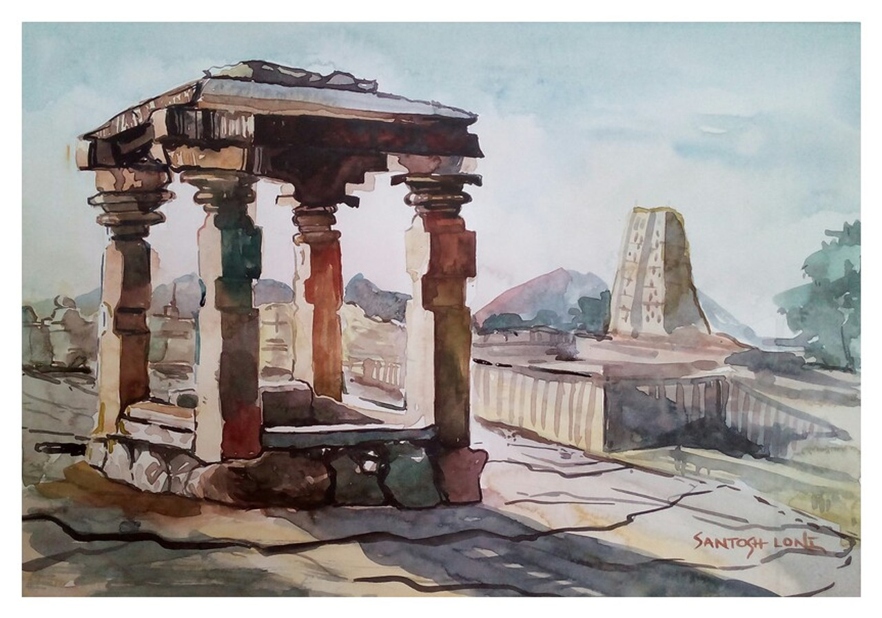Historical Place Bangalore Handpainted Art Painting 14in X 10in