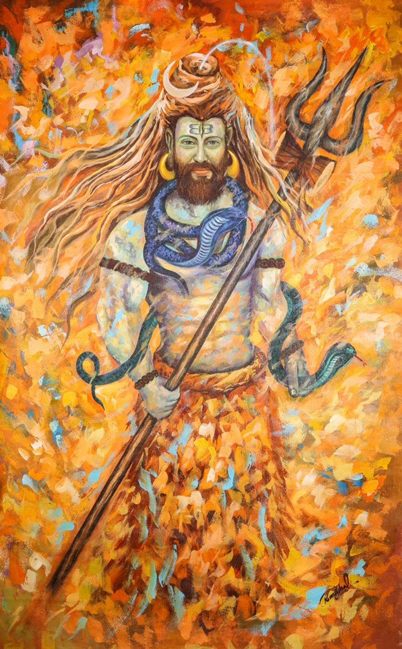 Lord Shiva with Trishul - Handpainted Art Painting - 36in X 55in