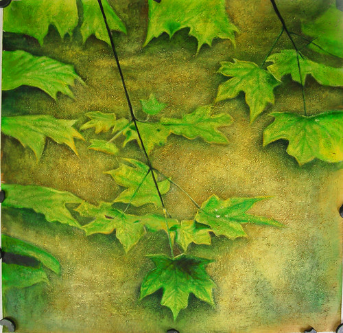 Leaves01 - 32in X 32in,FIZ004NTR_3232,Green,80X80,Flowers, Animals, Nature Art Canvas Painting