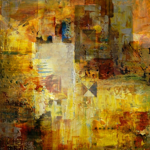 YellowCollage - 32in X 32in,31ABT398_3232,Yellow, Brown,80X80,Abstract Art Canvas Painting