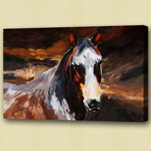 Brown Stallion - Handpainted Art Painting - 30in X 20in
