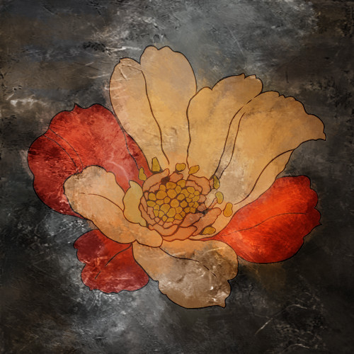 DesertFlower - 32in X 32in,28ABT18_3232,Black, Dark Shades,Oil Colors,Red and Yellow Flower,Black Background,80X80,Floral Art Canvas Painting Buy canvas art painting online for sale by fizdi.com in India