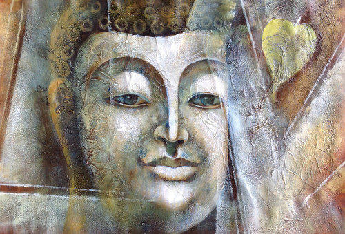 Grey Buddha,Meditation,Peace,Buddha with piple leaf