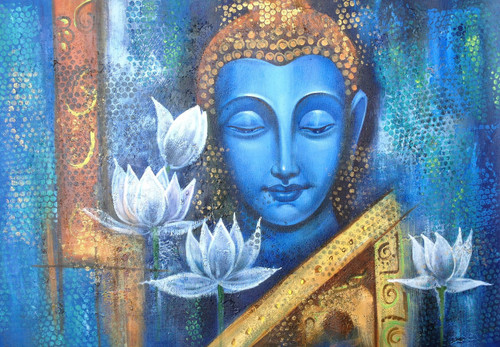 Buddha,Peace,Meditation,Buddhism,Buddha with Flower,Blue Buddha