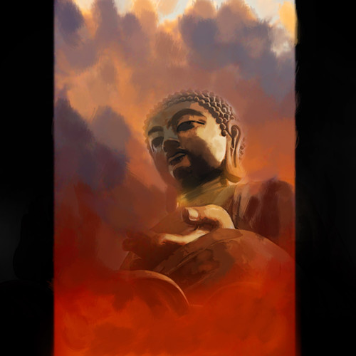 figurative painting,religious painting, buddha painting, red orangebuddha painting