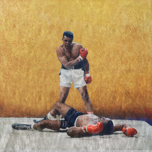 figurative painting,texture painting,yellow, brown shade painting, boxing painting, competition, sports painting