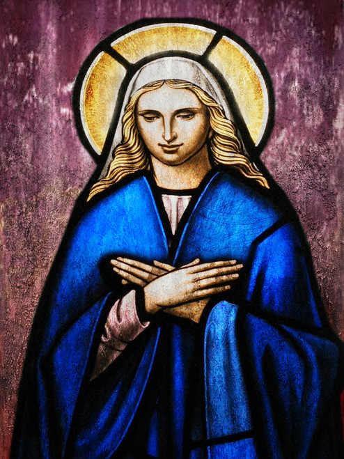 figurative painting,texture painting,blue, violet shade painting, feminine figure, religious painting, christianity painting, mother merry painting