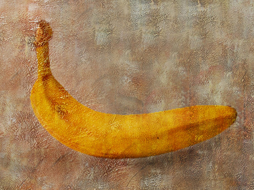 The banana painting, new age painting, texture painting, yellow, brown painting