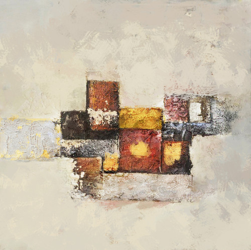 City5 - 32in X 32in,26Heavy06_3232,White, Light Shades,80X80 Size,Heavy Texture Art Canvas Painting