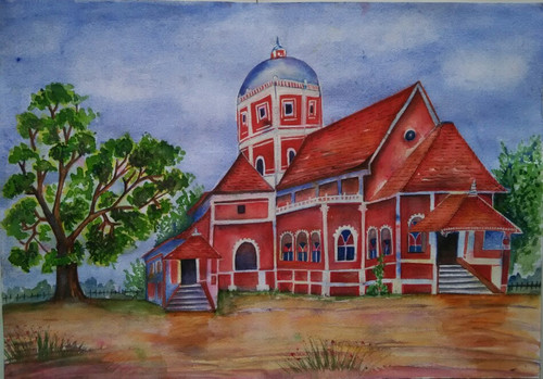 ,Shantadurg Goa,ART_1243_11187,Artist : Ujwala Chavan,Water Colors
