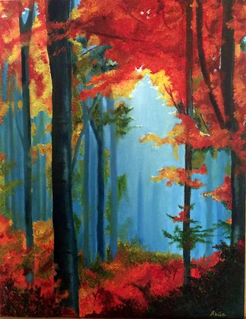 Trees, Autumn, Forest, Nature, Colors,Autumn Colors,ART_1304_11169,Artist : Akila Devi,Oil