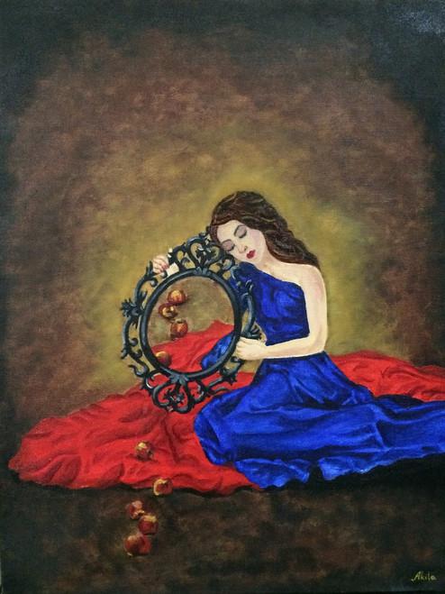 Girl, Lost, Dream, Waiting, Love,Lost,ART_1304_11165,Artist : Akila Devi,Oil