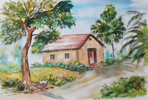Village, village house, trees, water colour, indian village,Village house,ART_1245_11156,Artist : Shubhangi Khot,Water Colors