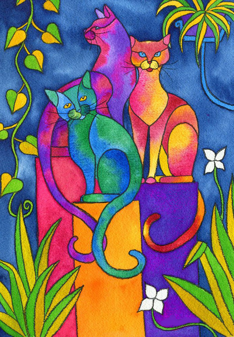 NATURE,3 CATS,ART_1299_11126,Artist : ASWATHY SUGATHAN,Acrylic