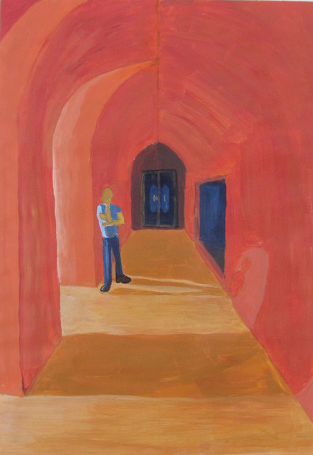 Fort, Tomb, Liminality, Space, Light and shadow, Peaceful, Thinking,Corridor, A Liminal Space,ART_88_11111,Artist : Thiruvikraman Ramadoss,Acrylic
