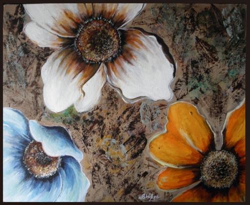 Floral, Flower, Textured, Brown,Beautiful Abstract Flowers With A Textured Brown Background,ART_1292_11101,Artist : Shilpa Mathur,Acrylic