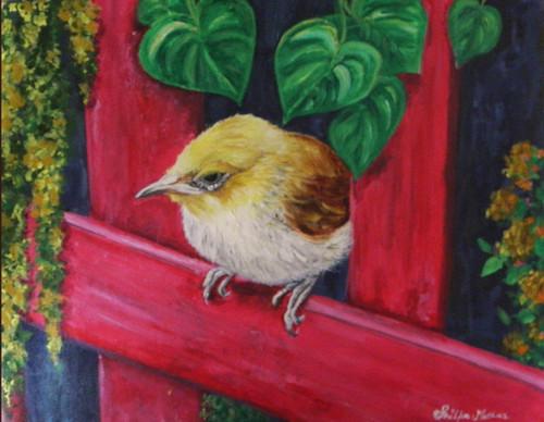 yellow Bird, Green, Red, Nature,Bird In Balcony,ART_1292_11099,Artist : Shilpa Mathur,Acrylic