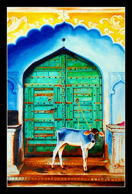 cityscape, multicolour painting, village life painting, cow painting,VINTAGE DOOR,ART_670_11021,Artist : Dhara Parekh,Acrylic