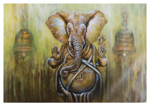 ganesha painting, religious painting, green painting, mahaganpati,MAHAGANPATI,ART_1033_11036,Artist : PARESH MORE,Acrylic