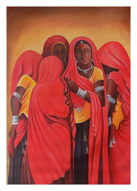 group of ladies, village painting, gossip, figurative painting, red, pink, orange shade painting,GOSSIP 3,ART_1033_11029,Artist : PARESH MORE,Acrylic