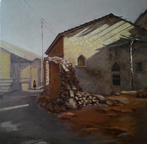 landscape, yellow, brown, village hut in the village,landscape,ART_499_10983,Artist : MAHESHKUMAR JADHAV,Oil