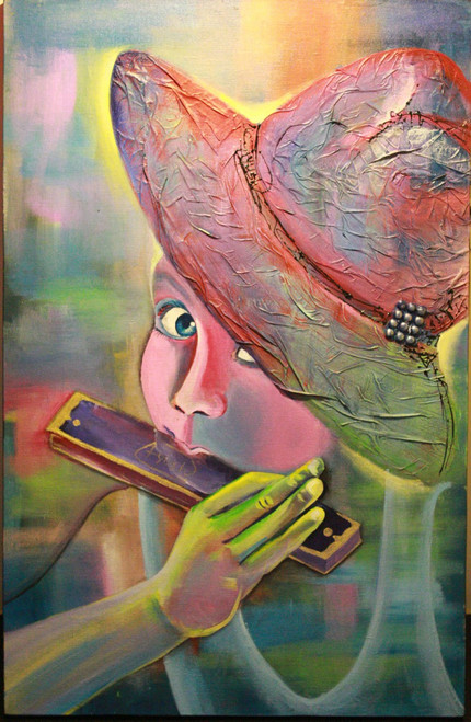 lady with mouth organ, lady with hat, figurative, feminine painting, multi colour painting, childhood dream,Childhood Dream,ART_306_11012,Artist : AYUSH AGRAWAL,Acrylic