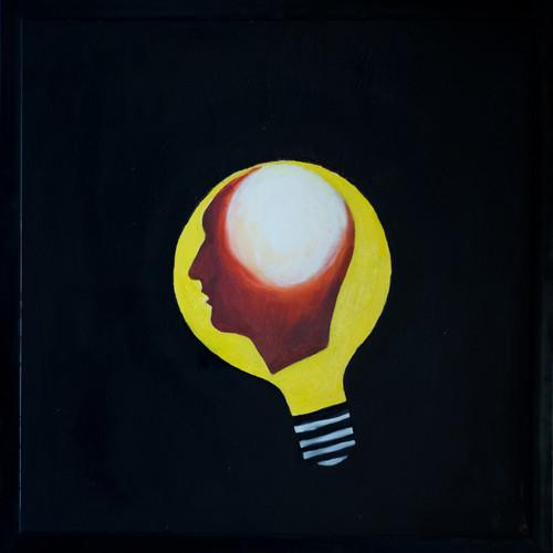 abstract art, figurative painting, black dark shade painting.,Enlightenment,ART_386_10969,Artist : Sekhar Krishnan,Oil