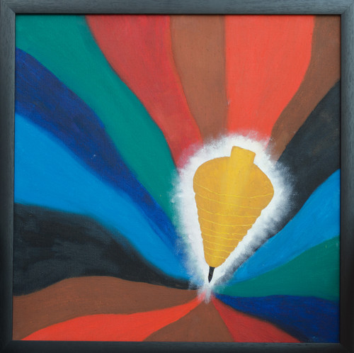 golden top, abstract art, modern art, multi colour painting,,Golden Top,ART_386_10968,Artist : Sekhar Krishnan,Oil