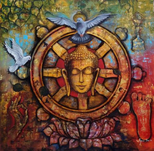buddha, pink buddha, lotus, buddha pugmarks, buddha with pigeon, buddha with leaves,Peaceful buddha,ART_82_10956,Artist : Arjun Das,Acrylic