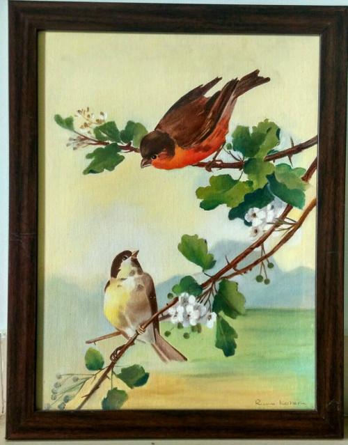 birds, courtship, dating, dating birds, love, love birds, green shade,Birds in Courtship,ART_1254_10937,Artist : Rama Koneru,Oil