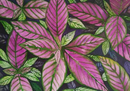 pink leaves, nature, tree, red, pink, orange shade painting,Pink Leaves,ART_1243_10952,Artist : Ujwala Chavan,Water Colors