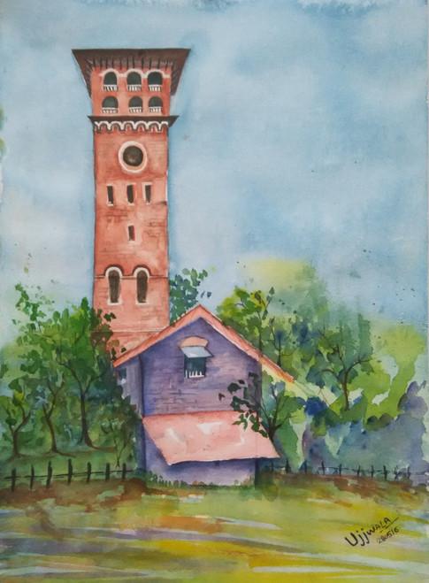 Church, red church, church with house,Church,ART_1243_10951,Artist : Ujwala Chavan,Water Colors